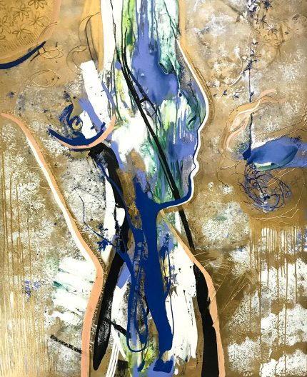 Abstract figurative painting by contemporary London based artist Daniela Raytchev.