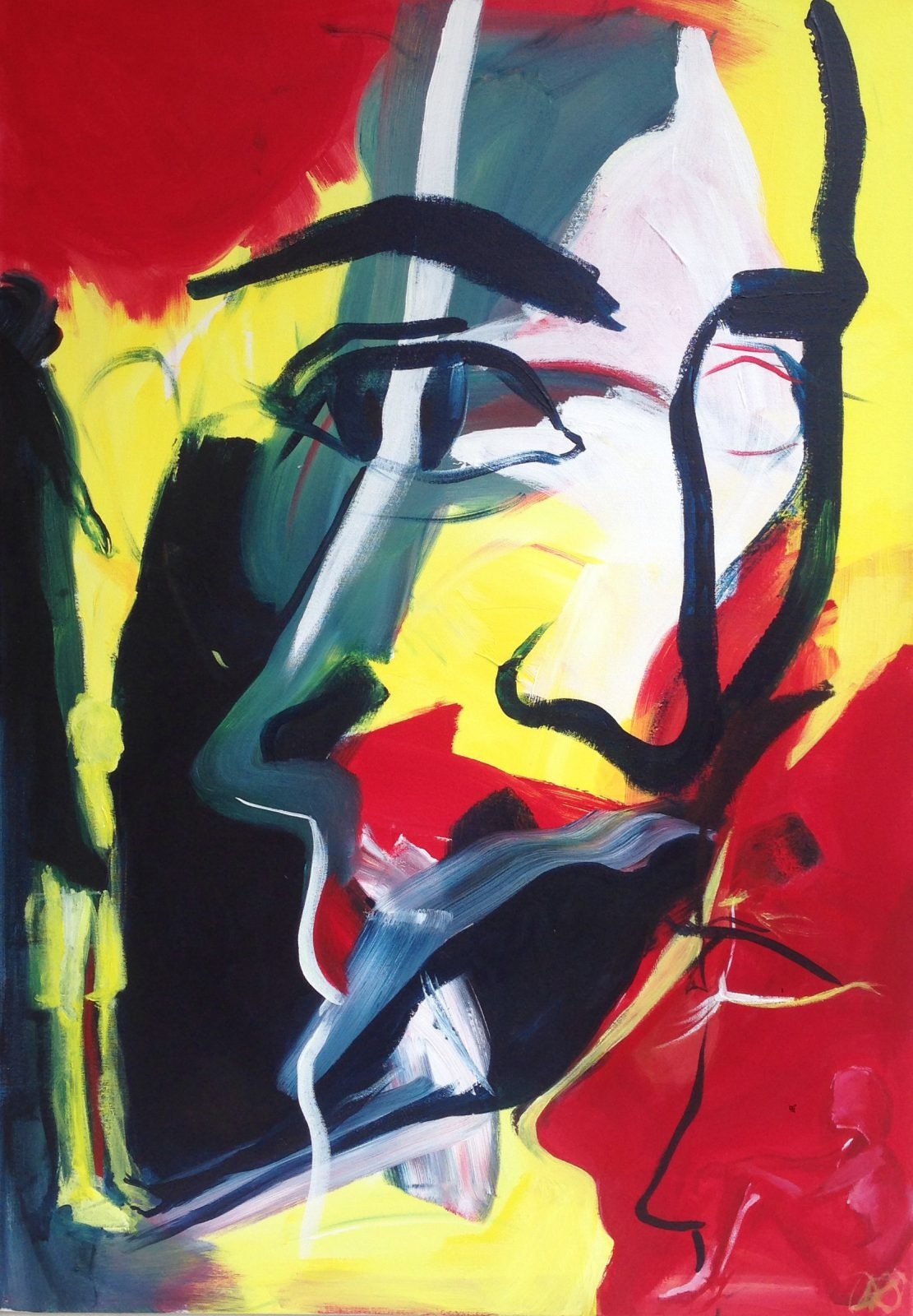 Waiting game (2014), abstract figurative art, colour, daniela raytchev, mood, abstract portrait