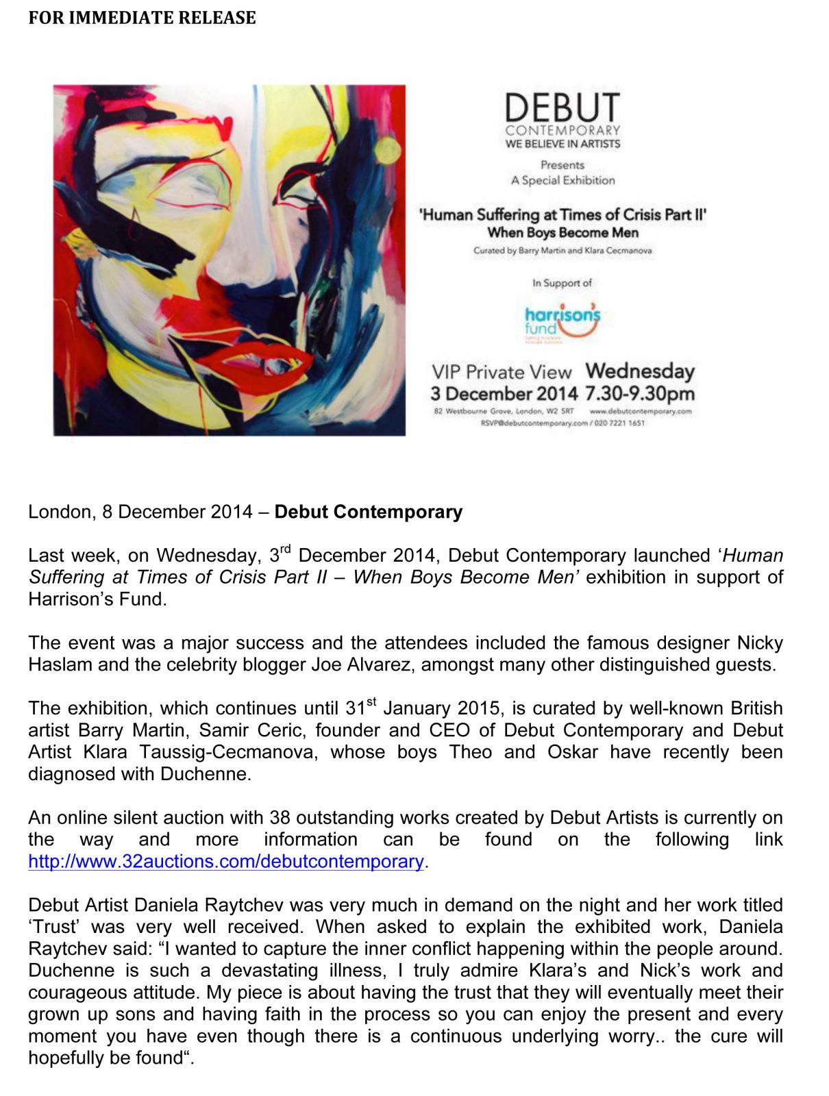 PRESS RELEASE Human Suffering at Times of Crises Exhibition at Debut Contemporary