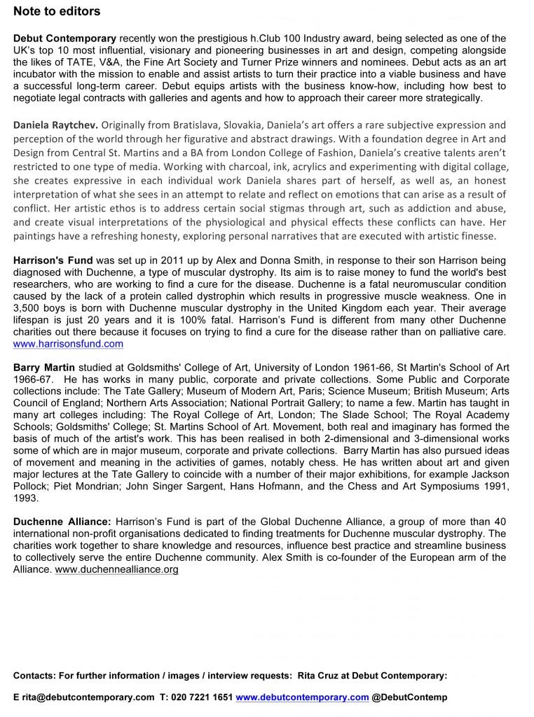 notes, editors, daniela raytchev, press release, barry martin, duchenne