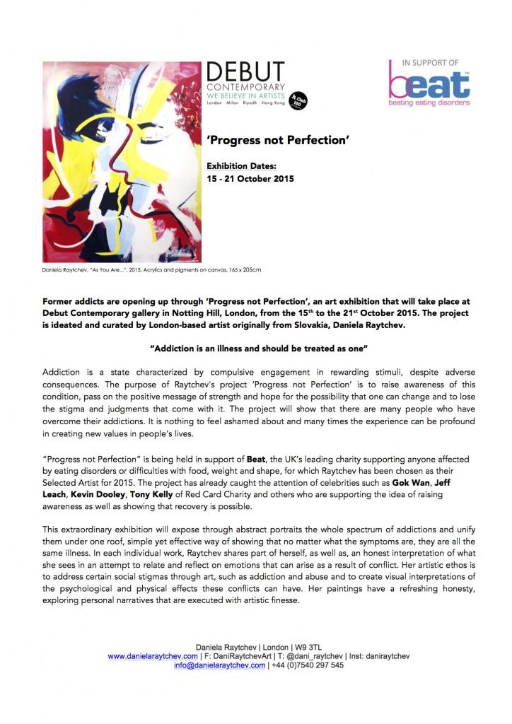 Daniela Raytchev Press Release Progress not Perfection