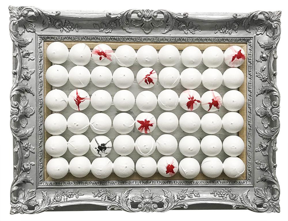 sculpture, blood, bulbs, light, frame, silver, daniela raytchev, artist, artwork